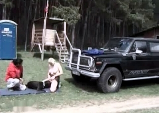 Outdoors fuck with a big puppy